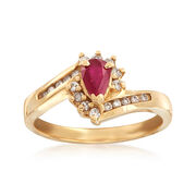 """C. 1990 Vintage .45 Carat Ruby and .25 ct. t.w. Diamond Ring in 14kt Yellow Gold. 7"""""""
