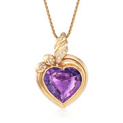 """C. 1980 Vintage 25.00 Carat Amethyst and .35 ct. t.w. Diamond Heart Pendant Necklace in 14kt Yellow Gold. 20"""""""