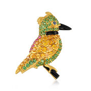 C. 1990 Vintage 9.62 ct. t.w. Mixed-Stone and Black Onyx Bird Pin in 18kt Yellow Gold