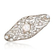 C. 1915 Vintage 6x3.4mm Cultured Pearl and .35 ct. t.w. Diamond Pin in Platinum and 14kt Gold