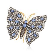 C. 1940 Vintage 4.30 ct. t.w. Diamond and 4.00 ct. t.w. Sapphire Butterfly Pin in Sterling Silver