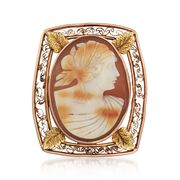 C. 1950 Vintage 25x18mm Shell Cameo Pin in 10kt Two-Tone Gold