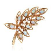 C. 1970 Vintage Opal and .65 ct. t.w. Diamond Leaf Pin in 14kt Yellow Gold