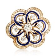 C. 1970 Vintage 1.10 ct. t.w. Diamond and Blue Enamel Open Floral Pin in 14kt Yellow Gold