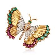 C. 1990 Vintage 2.50 ct. t.w. Ruby and Emerald Butterfly Pin With Diamonds in 18kt Yellow Gold