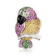 C. 1990 Vintage Black Onyx and 4.10 ct. t.w. Multi-Stone Parrot Pin With Diamonds in 18kt White Gold