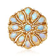 C. 1960 Vintage Opal and .45 ct. t.w. Diamond Pin Pendant in 18kt Yellow Gold