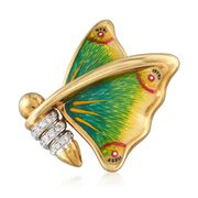 C. 1980 Vintage .20 ct. t.w. Diamond Butterfly Pin With Multicolored Enamel in 18kt Gold