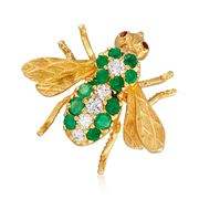 C. 1980 Vintage .55 ct. t.w. Emerald and .20 ct. t.w. Diamond Bee Pin With Ruby Accents in 18kt Gold