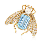 C. 1960 Vintage 6.50 Carat Aquamarine and 1.10 ct. t.w. Diamond Moth Pin With 6.5mm Cultured Pin in 18kt Gold