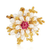 C. 1980 Vintage Cultured Pearl and .65 ct. t.w. Ruby and Diamond Pin in 18kt Yellow Gold