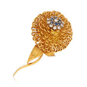 C. 1970 Vintage Hammerman Brothers .55 ct. t.w. Diamond and .35 ct. t.w. Sapphire Floral Pin in 18kt Gold