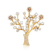 C. 1980 Vintage 4.95 ct. t.w. Diamond Tree Pin in 14kt Yellow Gold