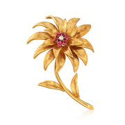 C. 1970 Vintage Tiffany Jewelry .40 ct. t.w. Ruby Floral Pin in 18kt Yellow Gold