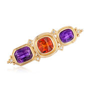 C. 1990 Vintage 11.80 ct. t.w. Amethyst and 4.95 Carat Citrine Pin With Diamond Accents in 18kt Gold