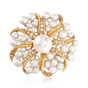 C. 1980 Vintage Tiffany Jewelry Mabe and Cultured Pearl and .45 ct. t.w. Diamond Sunburst Pin in 18kt Gold