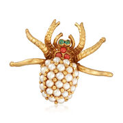 C. 1950 Vintage Cultured Pearl and Multi-Stone Spider Pin in 18kt Yellow Gold