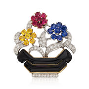C. 1960 Vintage 6.75 ct. t.w. Multicolored Multi-Stone Floral Basket Pin in Platinum and 18kt Gold