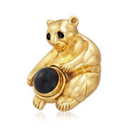 C. 1995 Vintage Piaget Bear Pin in 18kt Yellow Gold With Black Onyx
