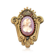 C. 1940 Vintage Pink Agate Oval Cameo Crest Pin in 14kt Yellow Gold