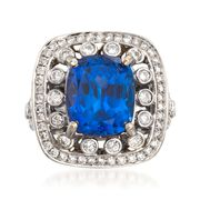 C. 2000 Vintage 10.15 Carat Tanzanite and 2.10 ct. t.w. Diamond Ring in 14kt White Gold. Size 7
