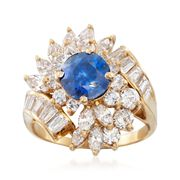 C. 1980 Vintage 1.80 Carat Sapphire and 2.50 ct. t.w. Diamond Ring in 18kt Yellow Gold. Size 6.5