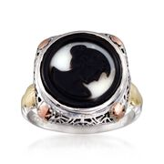 C. 1950 Vintage Black Agate Cameo Ring in 14kt Tri-Colored Gold. Size 5.75