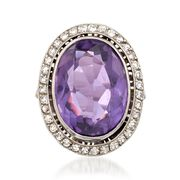 C. 1960 Vintage 11.90 Carat Amethyst and .70 ct. t.w. Diamond Ring in Platinum. Size 4.25