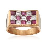 C. 1980 Vintage 1.45 ct. t.w. Ruby and .95 ct. t.w. Diamond Checkerboard Ring in 18kt Yellow Gold. Size 5