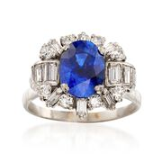 C. 1970 Vintage 2.65 Carat Sapphire and 1.10 ct. t.w. Diamond Ring in 18kt White Gold. Size 6