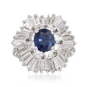 C. 1990 Vintage 1.42 Carat Sapphire and 2.60 ct. t.w. Diamond Ring in 18kt White Gold. Size 6.5