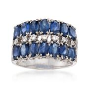 C. 1990 Vintage 3.50 ct. t.w. Sapphire and .15 ct. t.w. CZ Ring in 18kt White Gold. Size 7