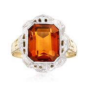 C. 1950 Vintage 2.20 Carat Citrine Ring in 14kt Two-Tone Gold. Size 5.5