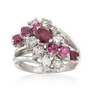 C. 1970 Vintage 1.35 ct. t.w. Ruby and 1.10 ct. t.w. Diamond Ring in 14kt White Gold. Size 6.25