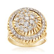 C. 1980 Vintage 1.85 ct. t.w. Diamond Cluster Ring in 18kt Yellow Gold. Size 8