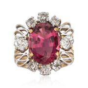 C. 1970 Vintage 5.50 Carat Pink Tourmaline and 1.50 ct. t.w. Diamond Ring in 14kt Yellow Gold. Size 6.5