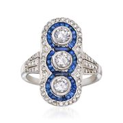 C. 1970 Vintage 1.10 ct. t.w. Diamond and .85 ct. t.w. Sapphire Dinner Ring in Platinum. Size 5.5