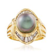 C. 1980 Vintage 9.5mm Black Cultured Pearl and .50 ct. t.w. Diamond Ring in 18kt Yellow Gold. Size 5.5