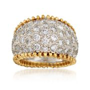 C. 1980 Vintage 3.50 ct. t.w. Pave Diamond Wide Ring in 18kt Yellow Gold. Size 6.5