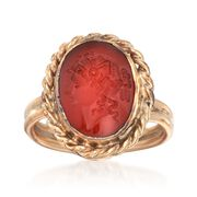 C. 1950 Vintage Red Carnelian Intaglio Ring in 14kt Yellow Gold. Size 6