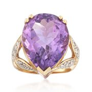 C. 1980 Vintage 15.75 Carat Amethyst and .35 ct. t.w. Diamond Ring in 14kt Yellow Gold. Size 7