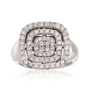C. 1990 Vintage 1.15 ct. t.w. Pave Diamond Square Ring in 14kt White Gold. Size 6