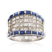 C. 1990 Vintage 2.70 ct. t.w. Diamond and 1.30 ct. t.w. Sapphire Ring in 18kt White Gold. Size 6