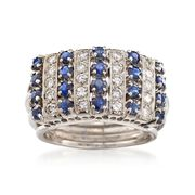 C. 1970 Vintage 1.00 ct. t.w. Sapphire and .60 ct. t.w. Diamond Ring in 18kt White Gold. Size 6.5
