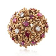 C. 1960 Vintage 2.50 ct. t.w. Ruby and .35 ct. t.w. Diamond Floral Cluster Ring in 14kt Yellow Gold. Size 8