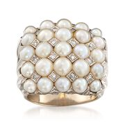 C. 1960 Vintage 3.5-4.5mm Cultured Pearl and .20 ct. t.w. Diamond Cluster Ring in 14kt White Gold. Size 7