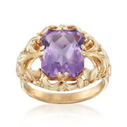 C. 1960 Vintage 3.80 Carat Amethyst Openwork Scroll Ring in 14kt Yellow Gold. Size 5.75