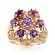 C. 1980 Vintage 1.40 ct. t.w. Amethyst Scrollwork Ring in 14kt Yellow Gold. Size 3.5