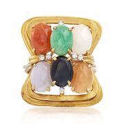 C. 1960 Vintage Multicolored Jade and .15 ct. t.w. Diamond Ring in 18kt Yellow Gold. Size 10