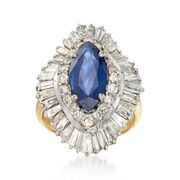C. 1970 Vintage 2.80 Carat Sapphire and 4.50 ct. t.w. Diamond Navette Ring in 18kt Yellow Gold. Size 6